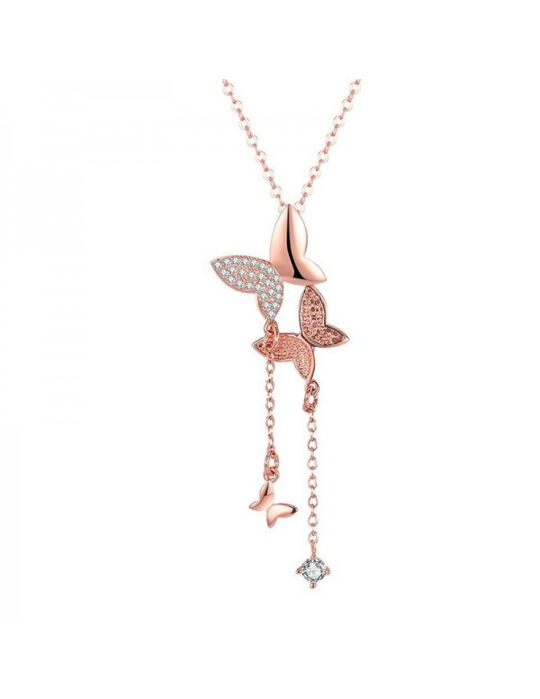 Jewels Galaxy Adorable Zircon Butterfly Rose Gold ...