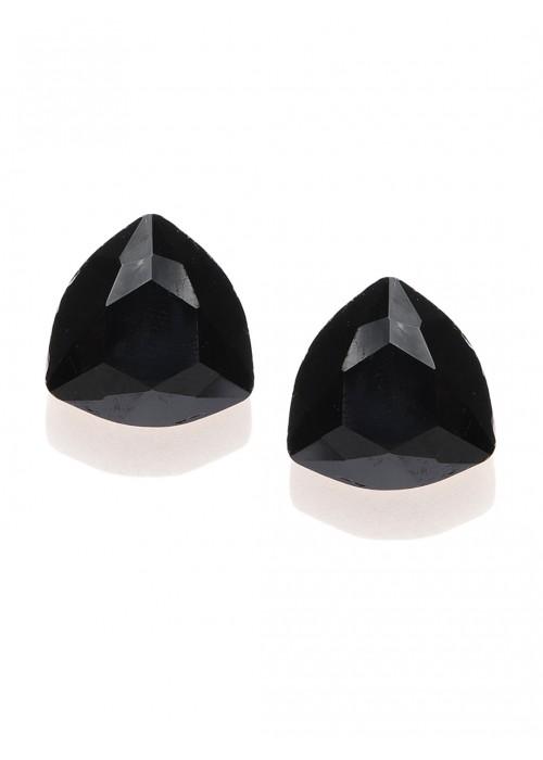 Jewels Galaxy Black Gold-Plated Triangular Studs  9820