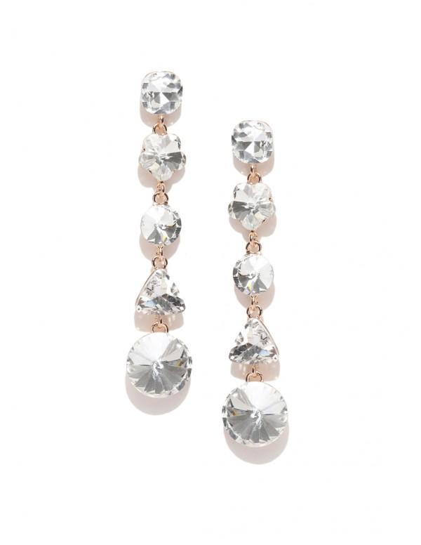 Jewels Galaxy Gold-Toned Stone-Studded Geometric D...