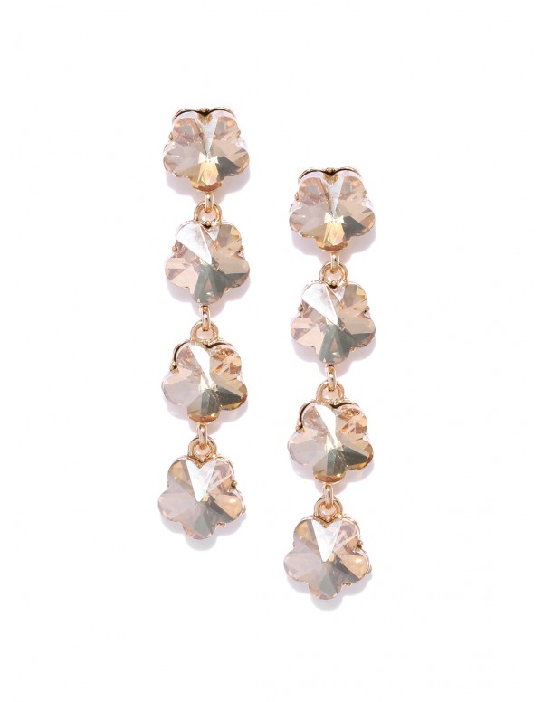 Jewels Galaxy Gold-Plated Stone-Studded Floral Dro...