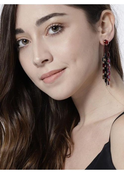 Red & Black Gold-Plated Handcrafted Contemporary Drop Earrings 35149