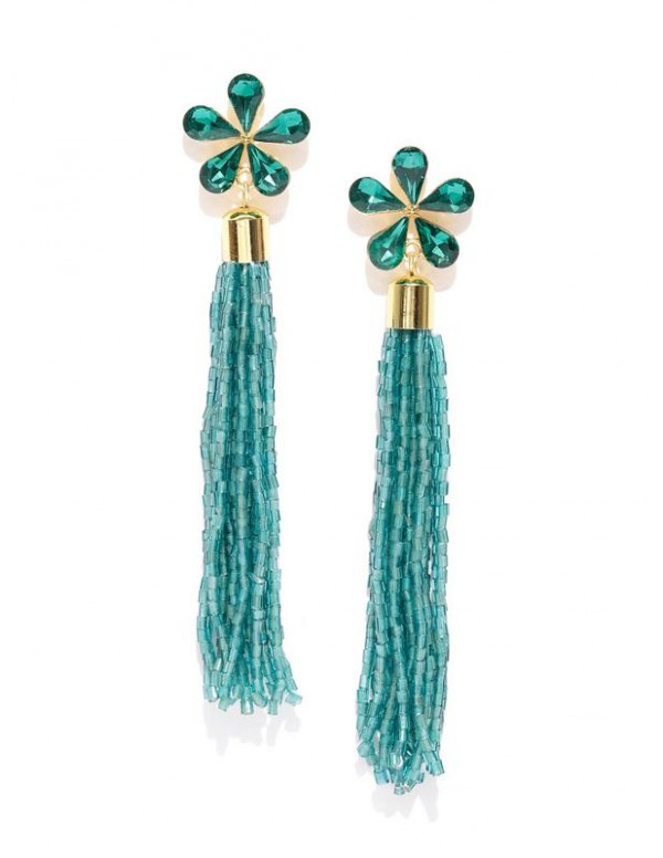 Green Gold-Plated Floral Handcrafted Drop Earrings