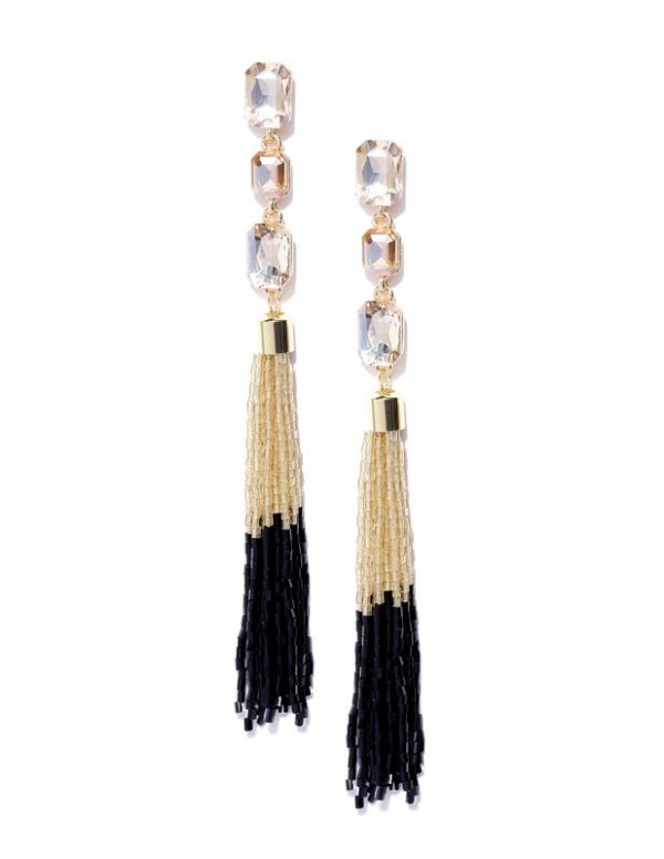 Black Gold-Plated Stone-Studded Handcrafted Tasseled Drop Earrings 35204
