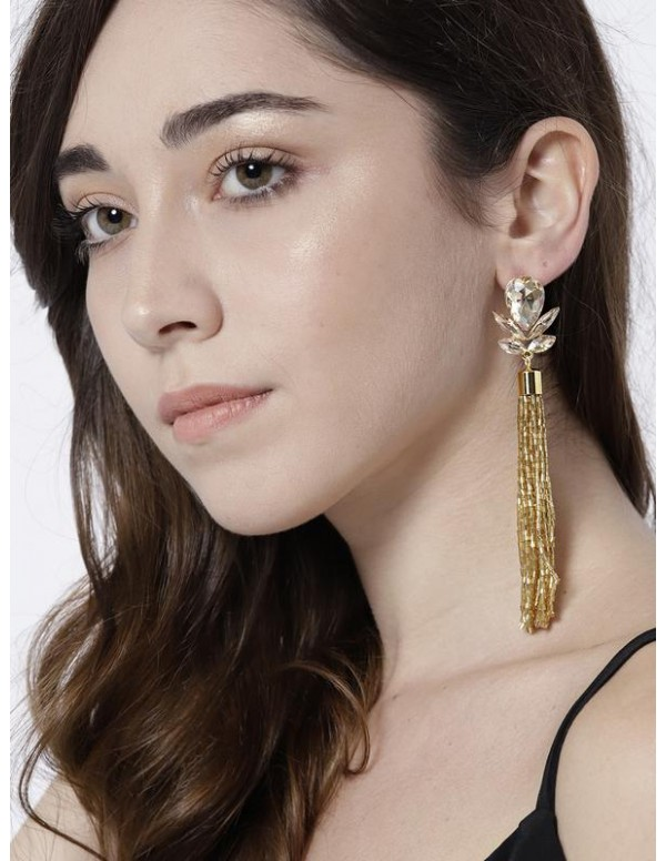 Gold-Toned Handcrafted Contemporary Drop Earrings ...
