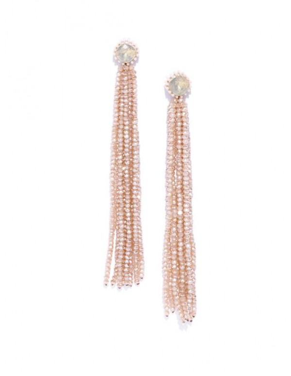 Beige Beaded Tasseled Handcrafted Drop Earrings