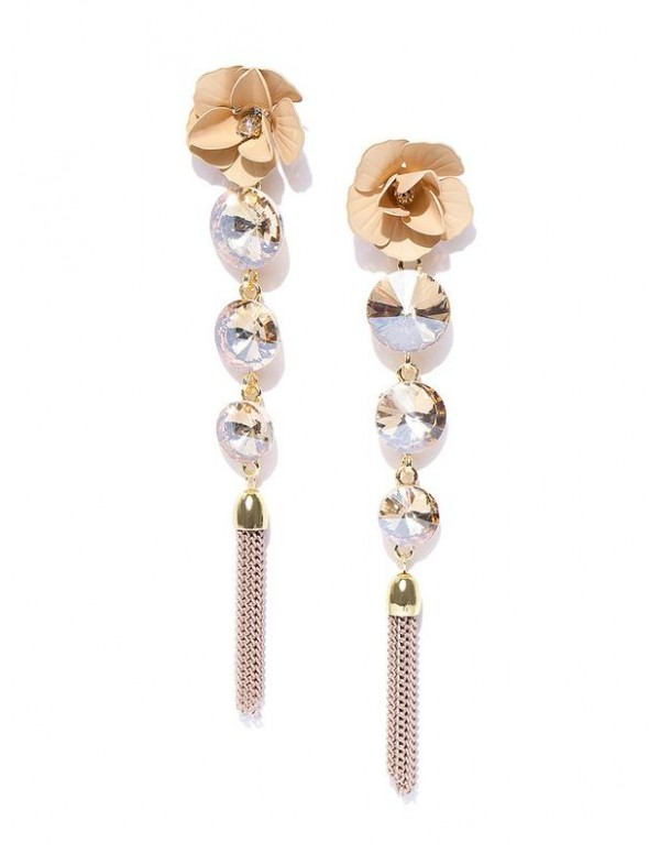 Beige Gold-Plated Handcrafted Floral Drop Earrings...