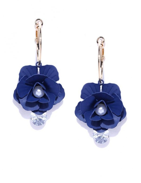 Navy Gold-Plated Handcrafted Floral Drop Earrings