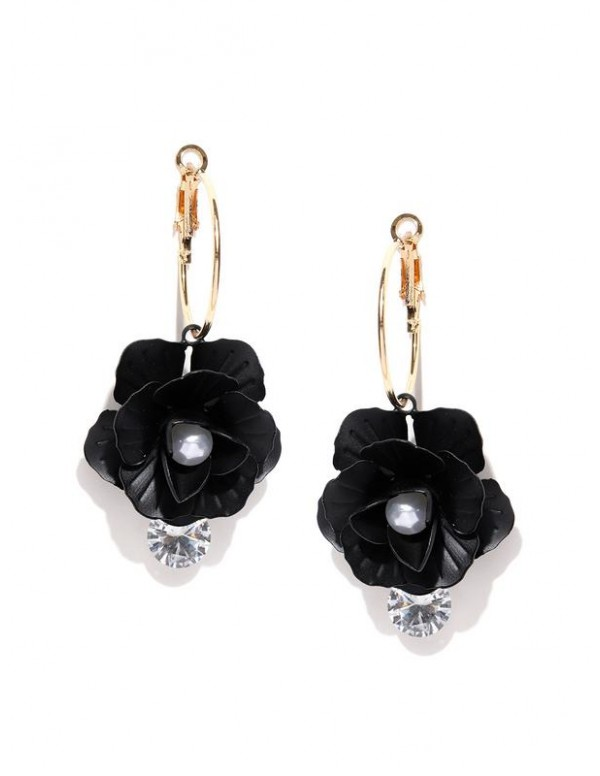 Black Gold-Plated Handcrafted Floral Drop Earrings...
