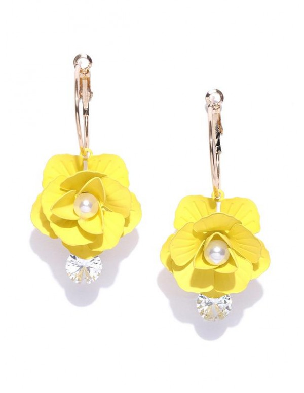 Yellow Gold-Plated Handcrafted Floral Drop Earring...