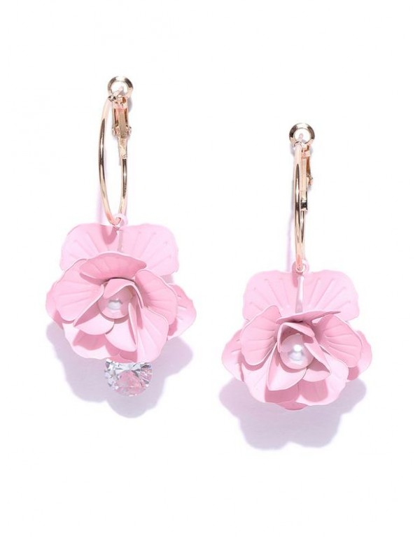 Pink Gold-Plated Handcrafted Floral Drop Earrings