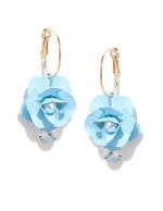 Blue Gold-Plated Handcrafted Floral Drop...