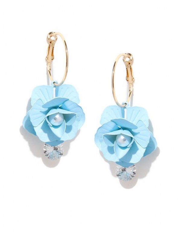 Blue Gold-Plated Handcrafted Floral Drop Earrings