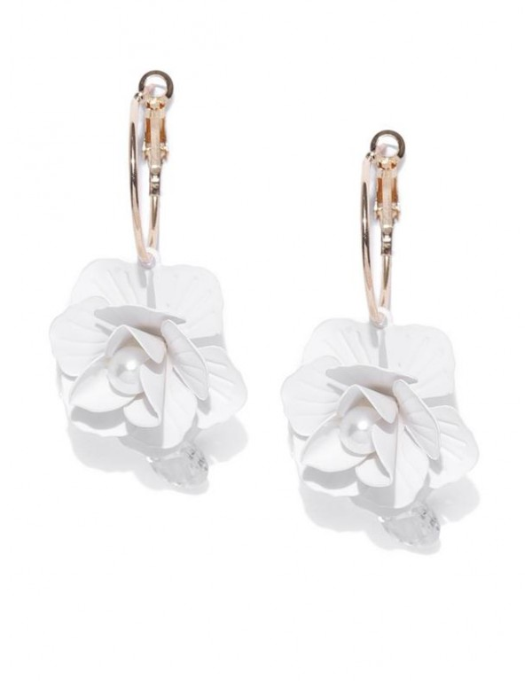 White Gold-Plated Handcrafted Floral Drop Earrings...