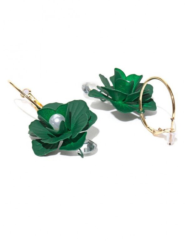 Green Gold-Plated Handcrafted Floral Drop Earrings