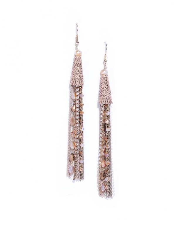 Beige Gold-Plated Beaded Tasseled Handcrafted Drop...