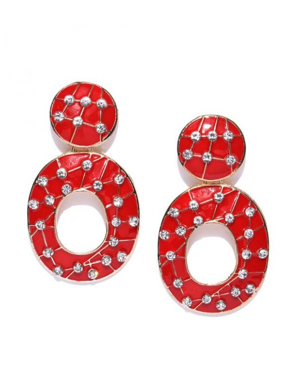 Red Gold-Plated Enameled Handcrafted Oval Drop Ear...