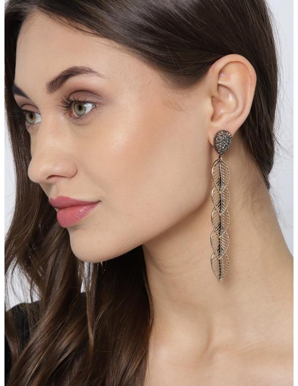 Copper-Plated Handcrafted Leaf Shaped Drop Earring...