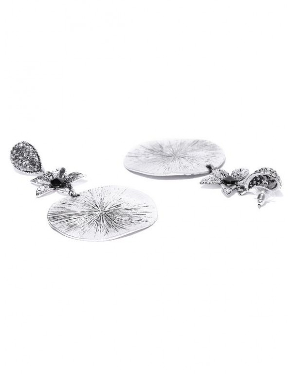 Oxidized Silver-Plated Handcrafted Circular Drop Earrings