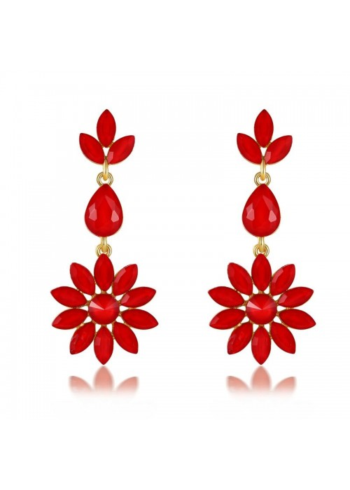 Jewels Galaxy Red Gold-Plated Stone-Studded Floral Drop Earrings 35603