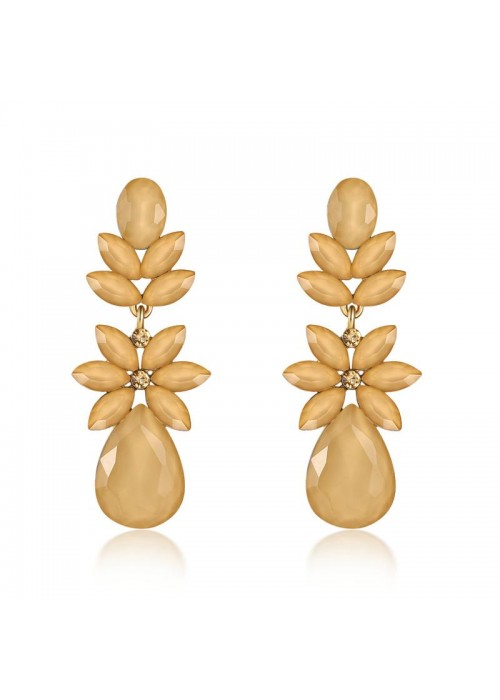 Jewels Galaxy Beige Gold-Plated Stone-Studded Floral Drop Earrings 35606