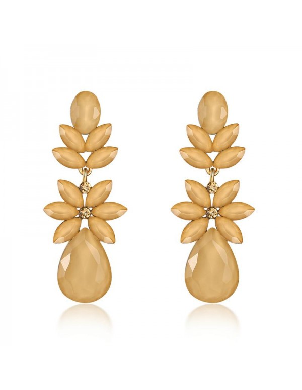 Jewels Galaxy Beige Gold-Plated Stone-Studded Flor...