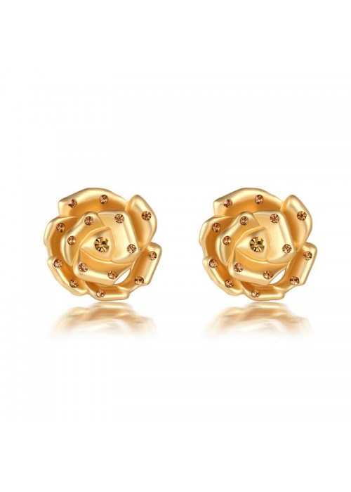 Jewels Galaxy Gold-Plated Stone-Studded Floral Drop Earrings 35614