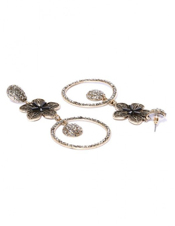 Jewels Galaxy Gunmetal-Toned & Black Gold-Plated Stone-Studded Floral Drop Earrings
