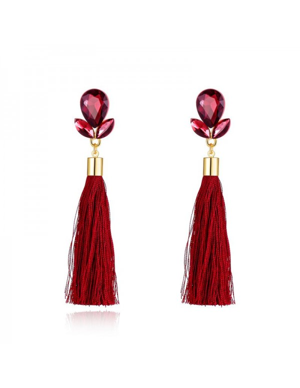 Jewels Galaxy Maroon Gold-Plated Tasseled Contempo...