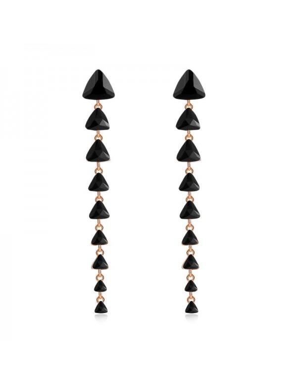 Jewels Galaxy Black Gold-Plated Stone-Studded Tria...