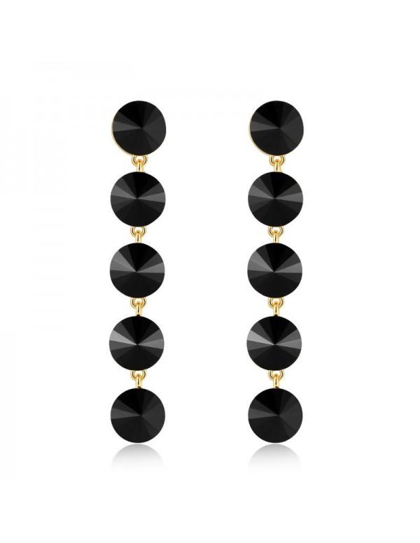Jewels Galaxy Black Gold-Plated Circular Drop Earr...