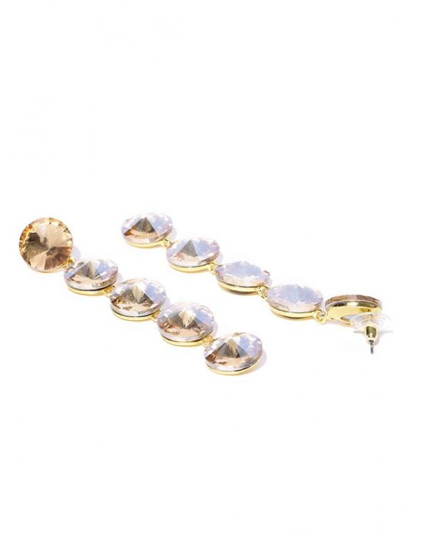 Jewels Galaxy Gold-Plated Stone-Studded Circular Drop Earrings  9736