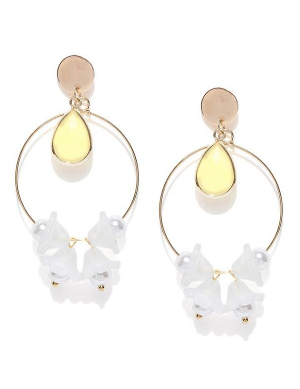 Jewels Galaxy White & Cream-Coloured Gold-Plated Contemporary Drop Earrings