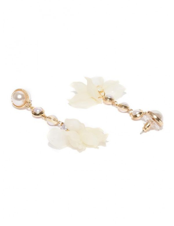 Jewels Galaxy Off-White Gold-Plated Beaded Contemp...