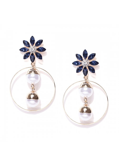 Jewels Galaxy Navy Luxuria Gold-Plated Handcrafted Floral Drop Earrings 9583
