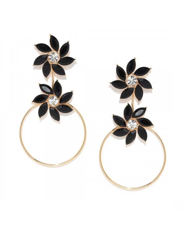Jewels Galaxy Black Gold-Plated Handcrafted Floral...