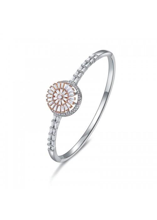 Designs By Jewels Galaxy American Diamond Rhodium Plated Geometrical Premium Bracelet 63014
