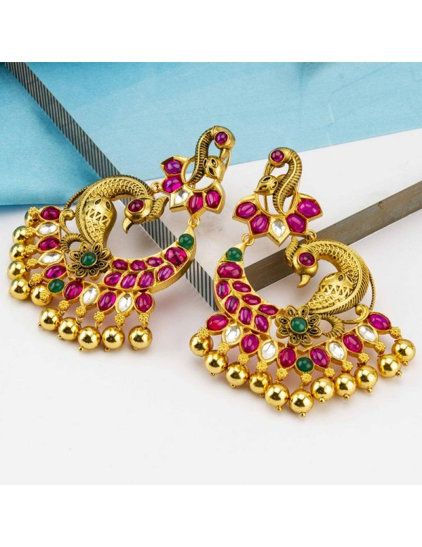 Gold Toned - Ruby Studded Premium Designer Drop Ea...