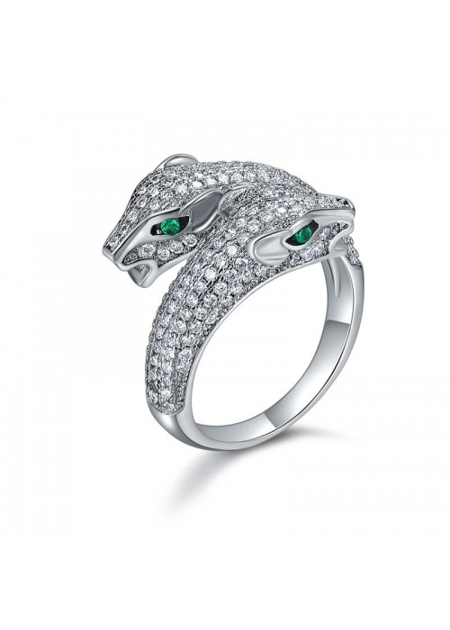 Designs By Jewels Galaxy American Diamond Rhodium Plated Jaguar inspired Premium Ring