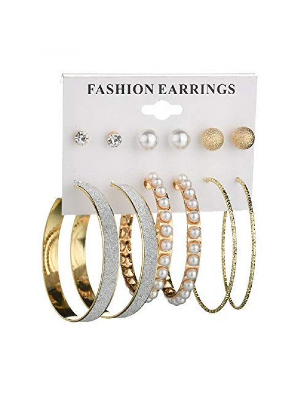 Jewels Galaxy Amazing AAA AD & Pearl Swanky 6 Pair of Stud & Hoop Earrings For Women/Girls