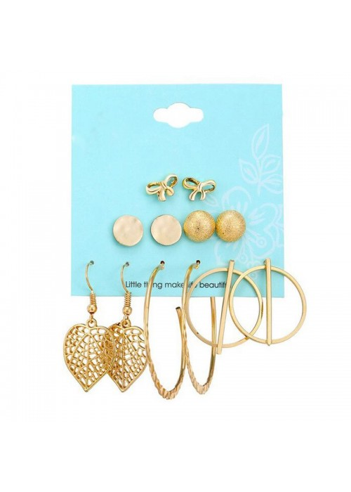 Jewels Galaxy Combo of 6 Pair Gold Plated Earrings 161