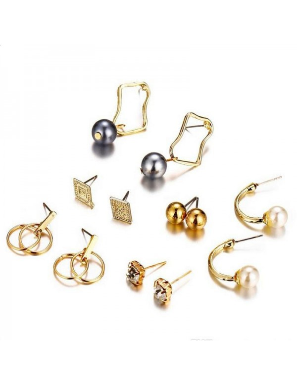Jewels Galaxy Combo of 6 Pair Gold Plated Earrings