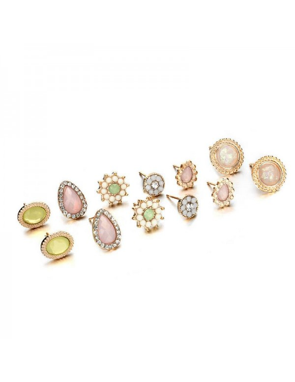 Jewels Galaxy Gold-Toned- Gold Plated AD Studded Earrings Combo