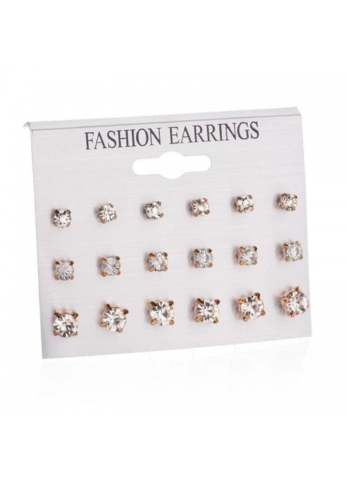 Jewels Galaxy Stunning AAA Cubic Zirconia Wonderful 12 Pair of Stud Earrings For Women/Girls