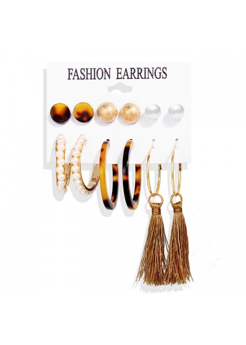 Jewels Galaxy Gold-Toned- Gold Plated Pearl Studded Earrings Combo