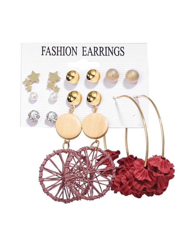 Jewels Galaxy Wonderful Pearl & AD Multi Designs Gold Plated 7 Pair of Earrings For Women/Girls