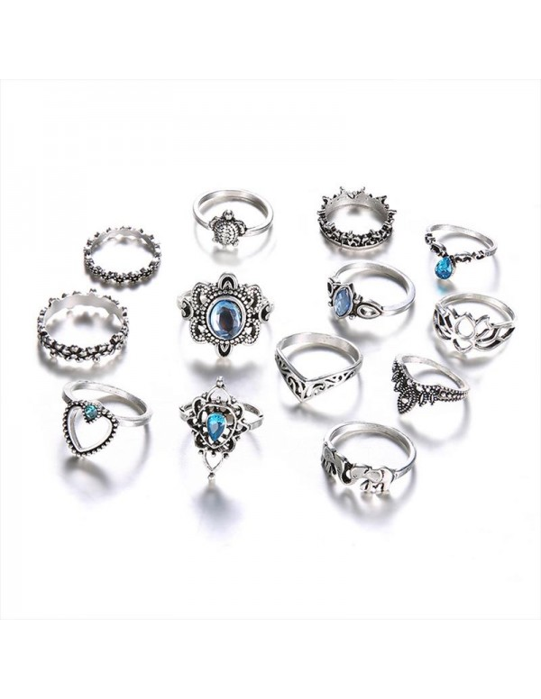 Jewels Galaxy Combo of 13 Silver Plated Mixed Sized Rings