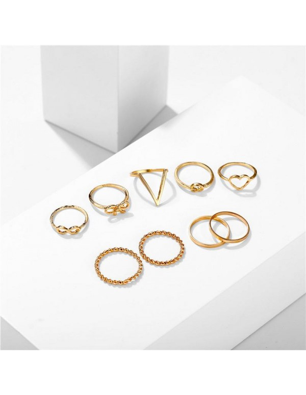 Jewels Galaxy Combo of 9 Gold Plated Mixed Sized Rings