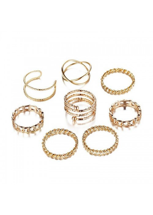Jewels Galaxy Combo of 8 Gold Plated Mixed Sized Rings