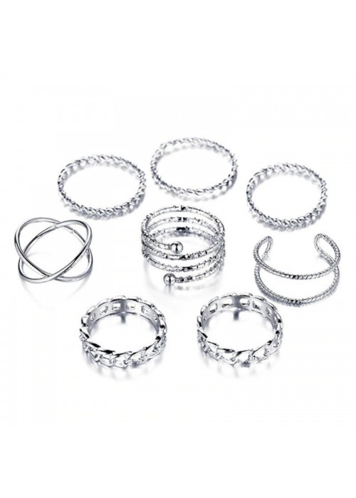 Jewels Galaxy Exclusive Multi Designs Silver Plated Magnificent Rings For Women/Girls (Mixed Sizes) 911