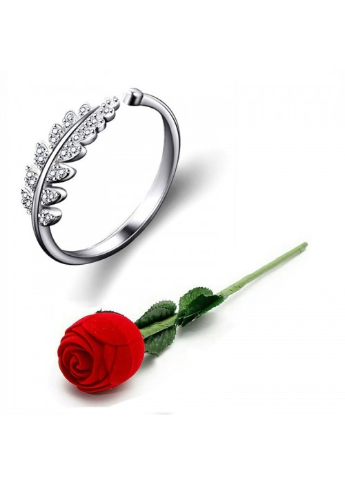 Jewels Galaxy Silver-Plated Stone Studded Handcrafted Adjustable Finger Ring with Rose Box 9935